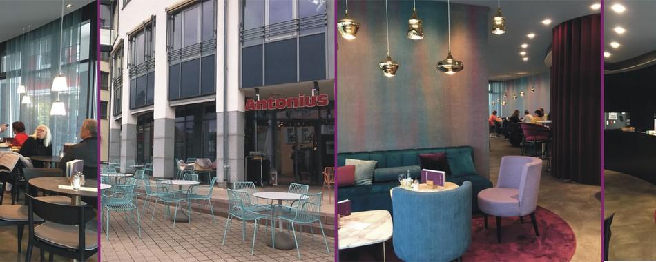 Gemütlich sitzen und genießen. Im Café Antonius in Friedrichshafen am Bodensee - Mit wechselndem Mittagstisch - Mittagessen im Cafe oder auf der Terrasse Friedrichshafen