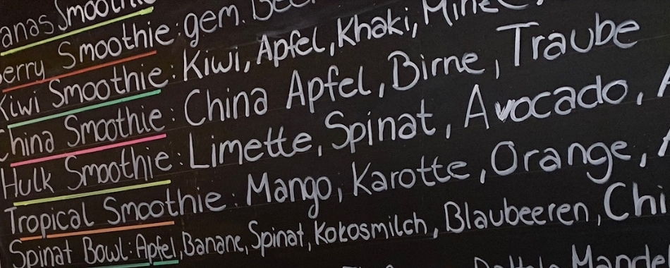 viele Smoothie Varianten als Mittagessen in Banas in Kempten in der Fischerstraße genießen - wöchentlich im Wechsel - gesund - frisch - exotisch - lecker