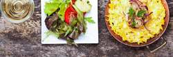 Spätzle mit Salat Mittagstisch Aboessen und Stammessen Risstal Metzgerei Ochsenhausen